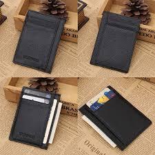 wallet slim money clip credit card holder id business mens genuine