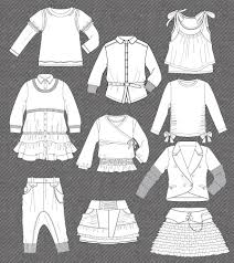 set fashion flat sketches kidsfashionvector pinterest