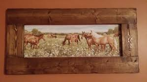 horse picrustic home decor rustic wood framed horse art