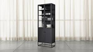 tall cabinet with glass doors casement black tall cabinet crate and barrel