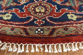 Floral Round Rugs Oriental Floral Round 8 U0027 Red Navy Blue Heriz Serapi Hand Knotted