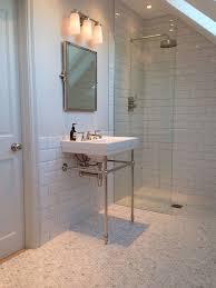 1930s bathroom design ensuite loft bathroom marble flooring metro tiles lefroy