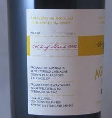 second wine agathist alchemy second wine barossa valley grenache 2015 the