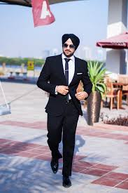 sikh model sikh men fashion style urban sardar model black suit