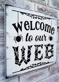 spooky halloween signs halloween decoration front door welcome sign