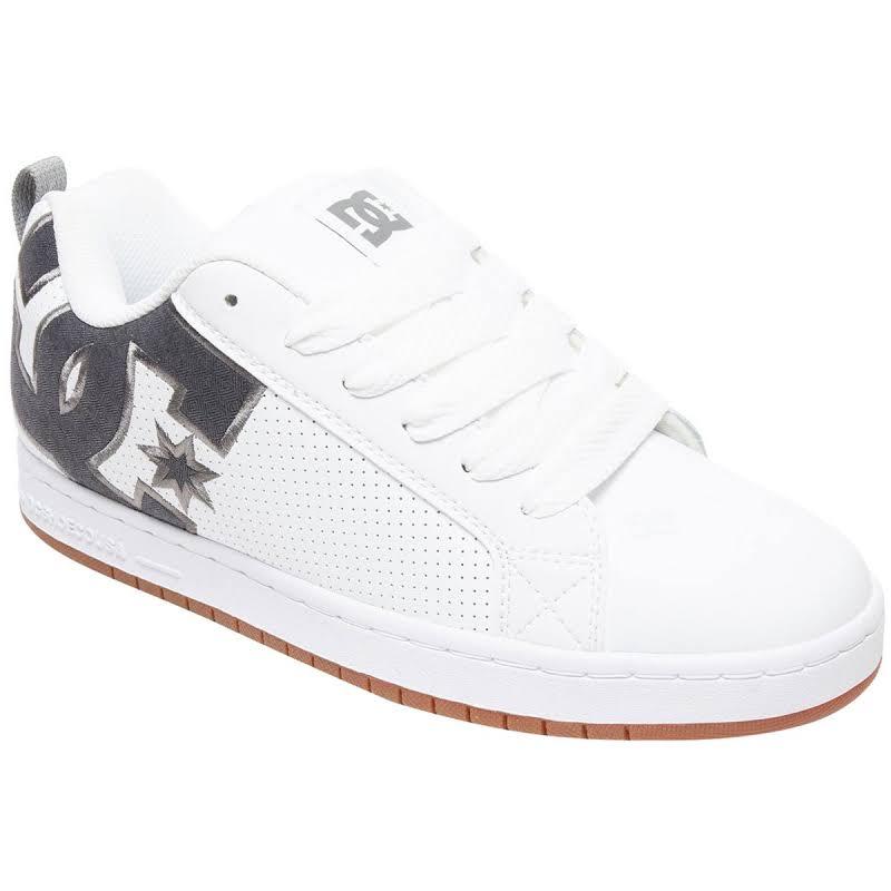 DC Court Graffik SE White Leather Athletic Lace Up Skate Shoes