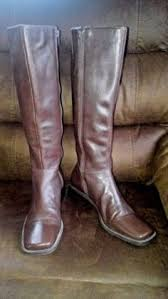womens brown leather boots size 9 nine s brown white accents leather boots