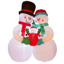 christmas inflatables glitzhome 8 ft h lighted snowman family decor 1125004449