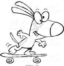 vector of a cartoon dog skateboarding coloring page outline by