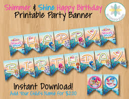shimmer and shine happy birthday banner instant download