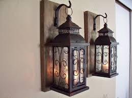 Rustic Bathroom Decor by Lantern Pair Wall Decor 2 Wall Sconces Housewarming Gift