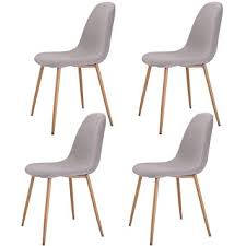 4 Dining Chairs Giantex Dining Side Chairs Steel Legs Wood Look