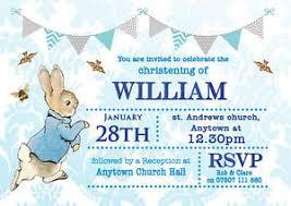 rabbit invitation personalised bunting rabbit christening invitations boy