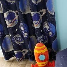Boys Space Curtains Kids Space Mission Blackout Pencil Pleat Curtains Dunelm Gios