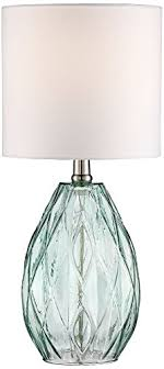 limelights stick l with charging outlet and fabric shade rita blue green glass accent table l yumdistrict