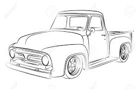 Antique Ford Truck Art - old pickup digital drawing royalty free cliparts vectors and