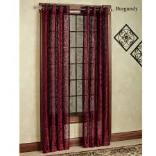 outstanding red lace curtain panels panel curtains red geometric