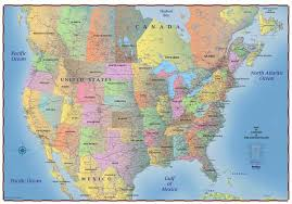 combined map of usa and canada trucker s wall map of canada united states and northern mexico