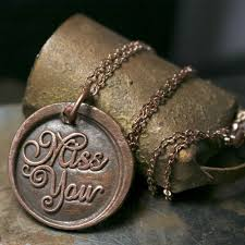 solid copper necklace images Solid copper miss you wax seal pendant necklace brazed brand jpg