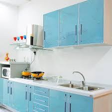 stickers porte placard cuisine yazi brillant bleu fleur pvc étanche wall sticker cuisine placard