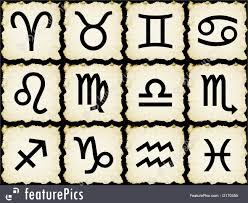 illustration of zodiac signs on papyrus
