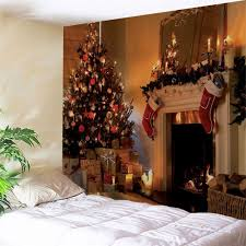 christmas fireplace print wall tapestry colormix w inch l inch