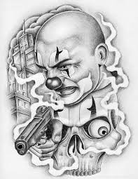 gangster clown with gun chicano design