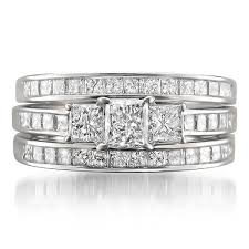 white gold bridal sets 14k white gold princess cut three diamond 3 bridal set
