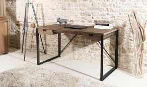 bureau stylé bureau en teck et métal style industriel meuble bois massif