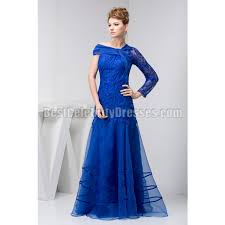 gown for wedding royal blue asymmetrical shoulder embroidered organza evening dress