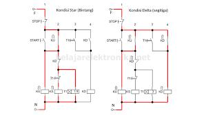 rangkaian star delta manual dan otomatis motor 3 phase