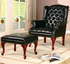Leather Tufted Chair Furniture Brown Leather Chair And Ottoman With Head Rest And
