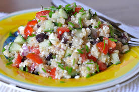 greek quinoa salad with fresh mint and oregano shiny tomato