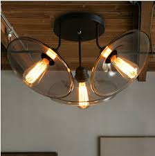 Edison Ceiling Light Vintage American Country Bar Iron Ceiling Lights 3 Heads Clear