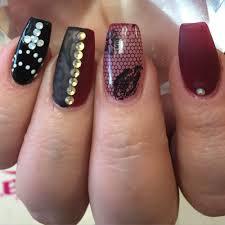 overlay on natural nails gel matte with lace design n swarovski