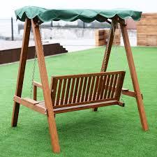 Lawn Swing Outdoor 2 Person Larch Wooden Swing Loveseat Porch Swings