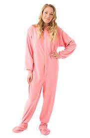 micro polar fleece footed pajamas in pink big footed