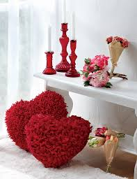 home is where the hearts are shaggy heart shaped pillows red
