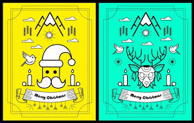 christmas banner sets geometric sketch flat decoration vector icon