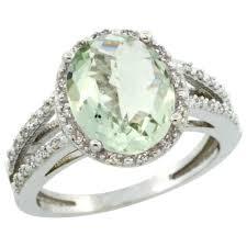 amethyst diamond engagement ring 14k white gold diamond jewelry color gemstone rings green amethyst