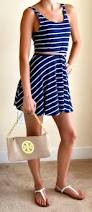 post navy and white dress white sandals