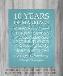 10 year anniversary gift 10 year anniversary gift print wedding anniversary personalized