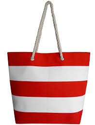 Red White Striped Flag Ruby Striped Beach Bag With Handles In Red White Tokyo