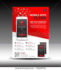 mobile apps flyer template business brochure stock vector