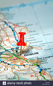 map pin pointing to dublin ireland on a road map stock photo