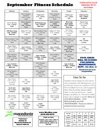 fitness schedule macedonia recreation center