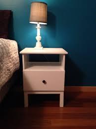 ikea hack tarva nightstand painted white for contrast of dark