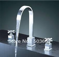 3pcs fashion waterfall bathtub faucet set surface mounted chrome