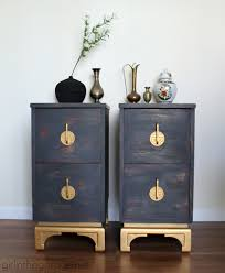 oriental nightstands themed makeover metallic gold paint
