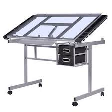 Drafting Table With Computer Adjustable Drawing Desk Rolling Drafting Table Tempered Glass Top
